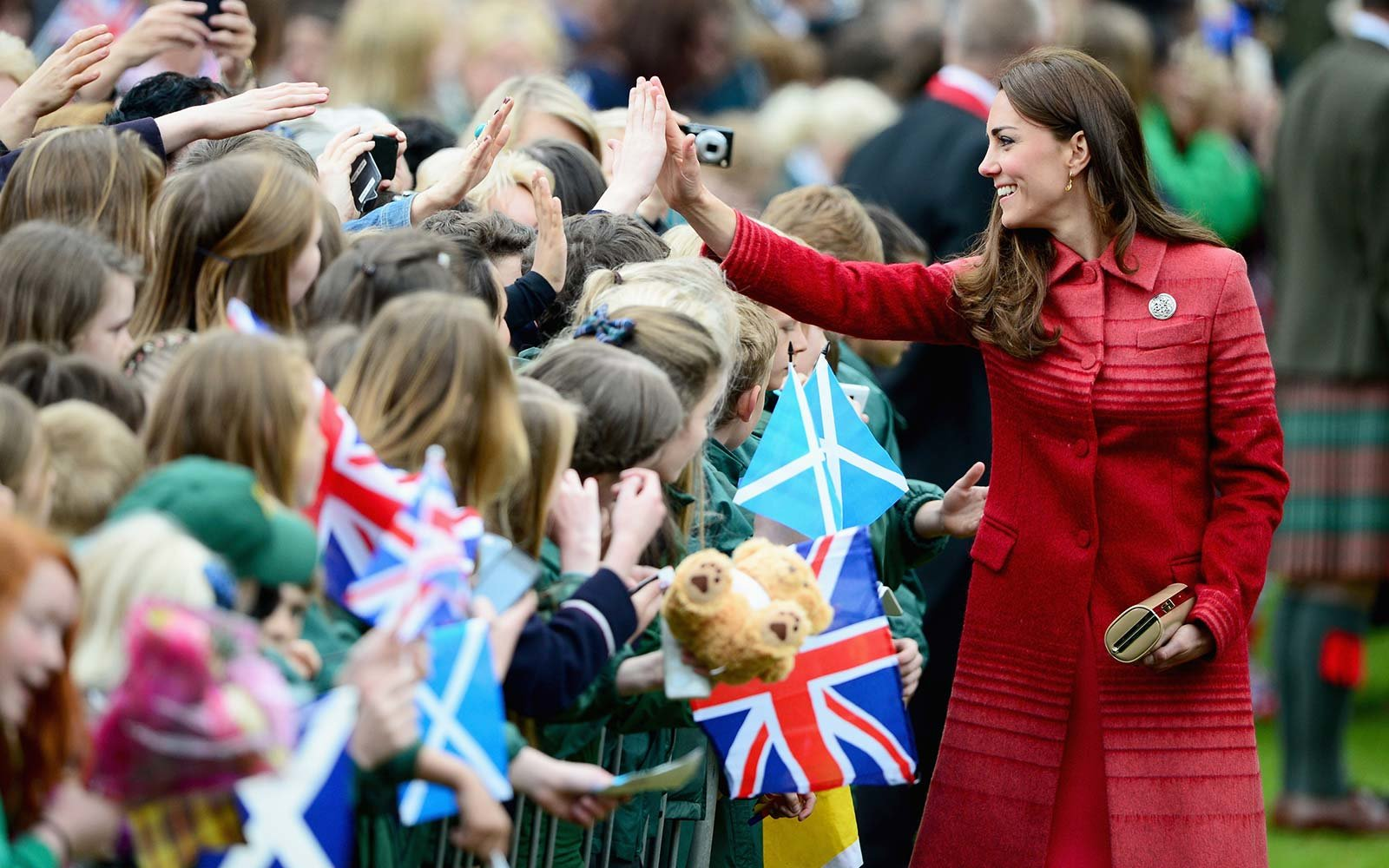 Catherine, Duchess of Cambridge greets fans at MacRostyy Park in Crieff, Scotland Kate Middleton British Royal Family UK autograph ban
