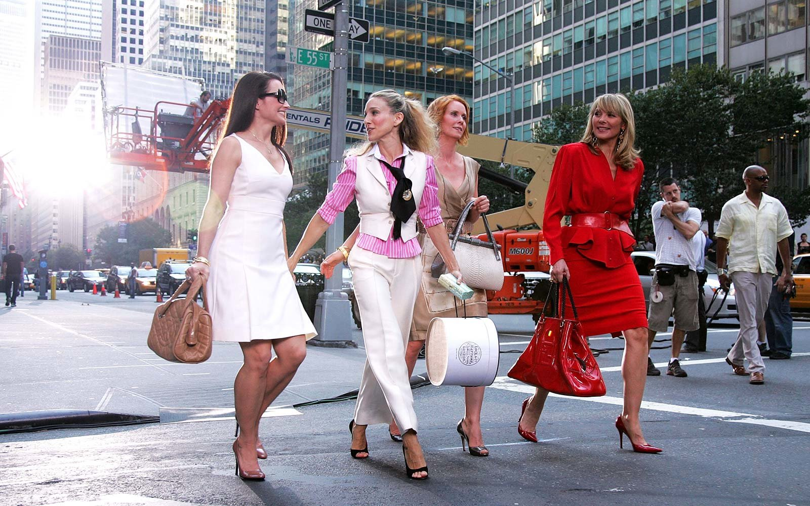 Actresses Kristin Davis, Sarah Jessica Parker, Cynthia Nixon and Kim Cattrall on the set of Sex In The City in New York City
