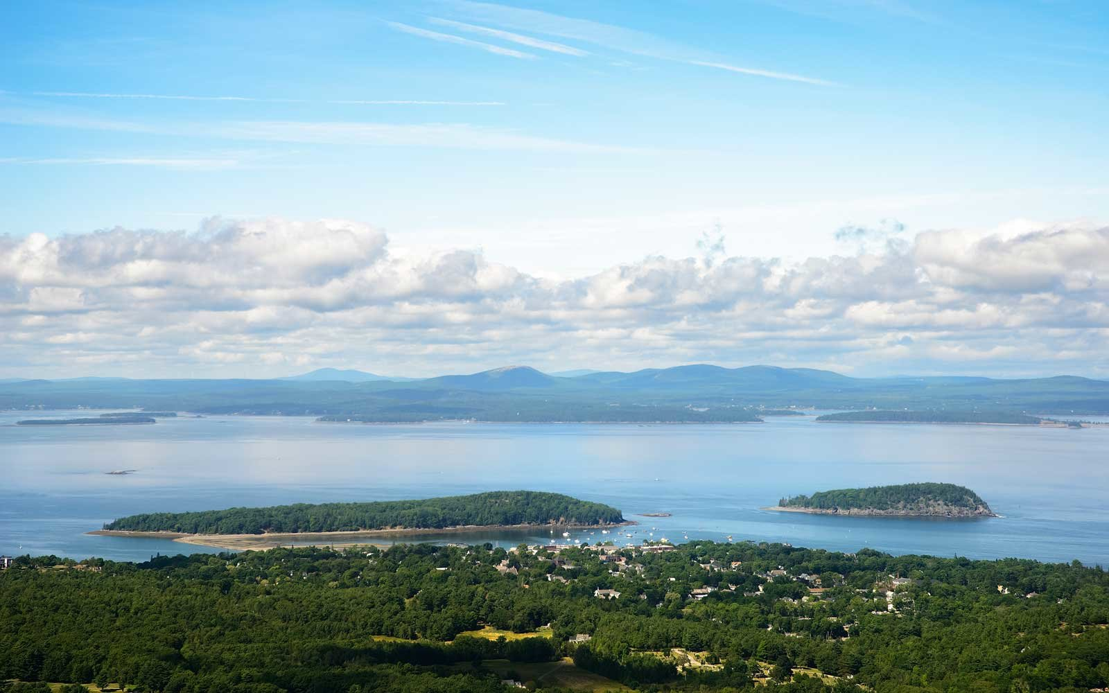 A Mountainside view of Bar Harbor and Bar Island