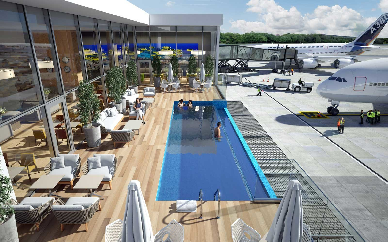 this airport is getting an outdoor swimming pool | travel + leisure