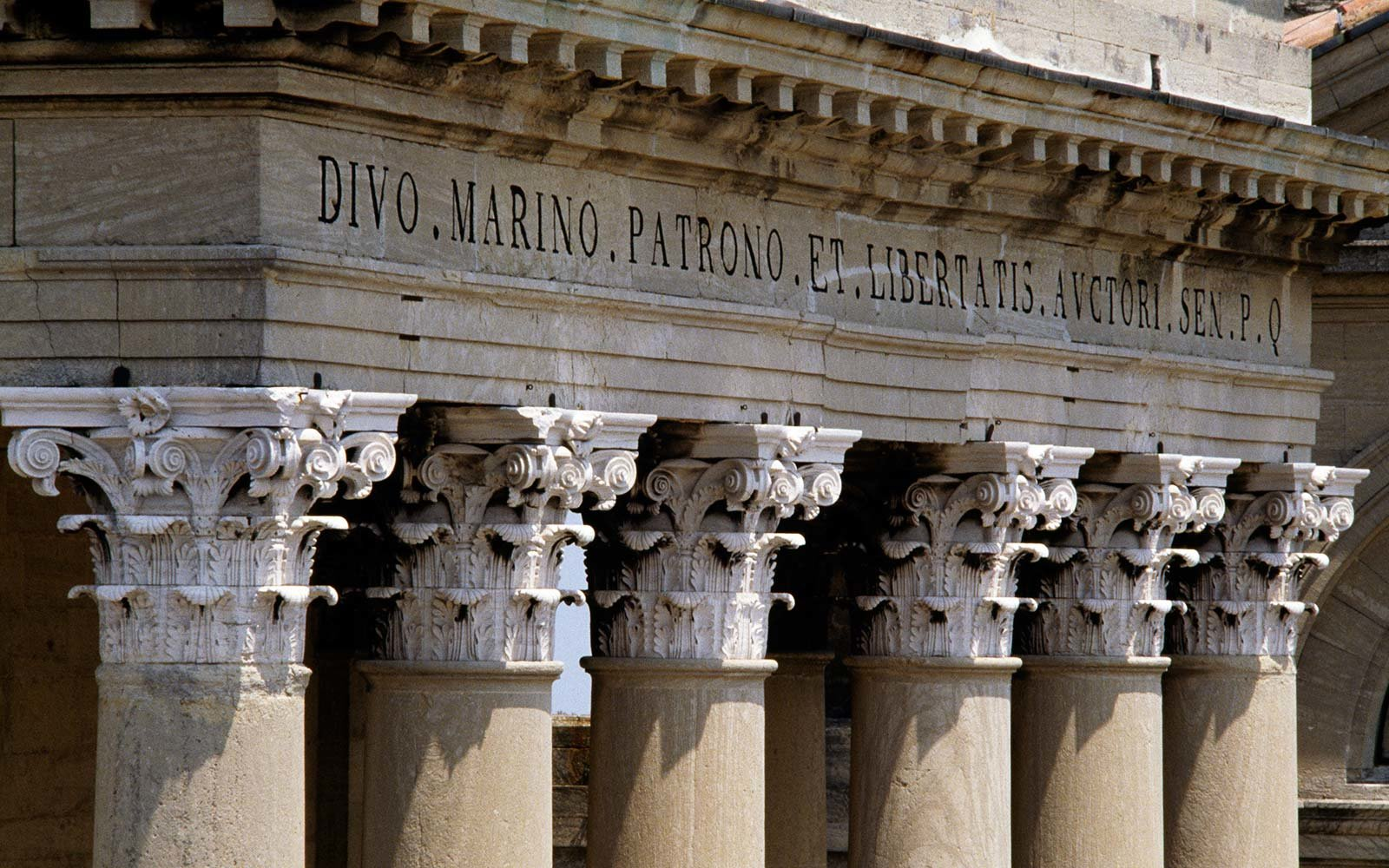 Detail of the portico columns of the Basilica of San Marino (19th century), Republic of San Marino.