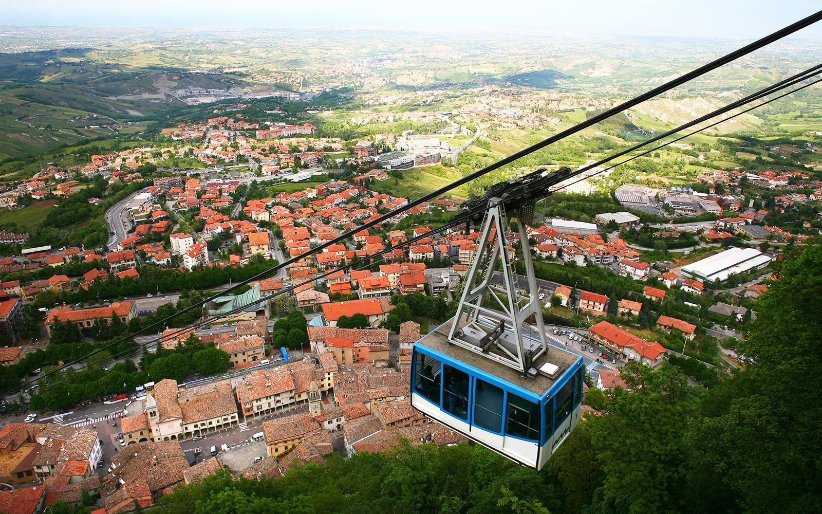 San Marino, San Marino, Europe Cable car Titan Mountain view