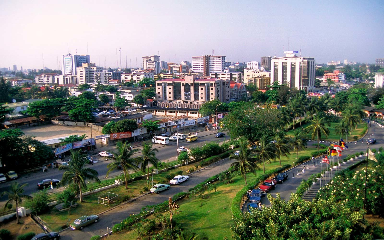 Upscale Victoria Island, one of the districts in Lagos - Nigeria's largest city with 12 million people. West Africa