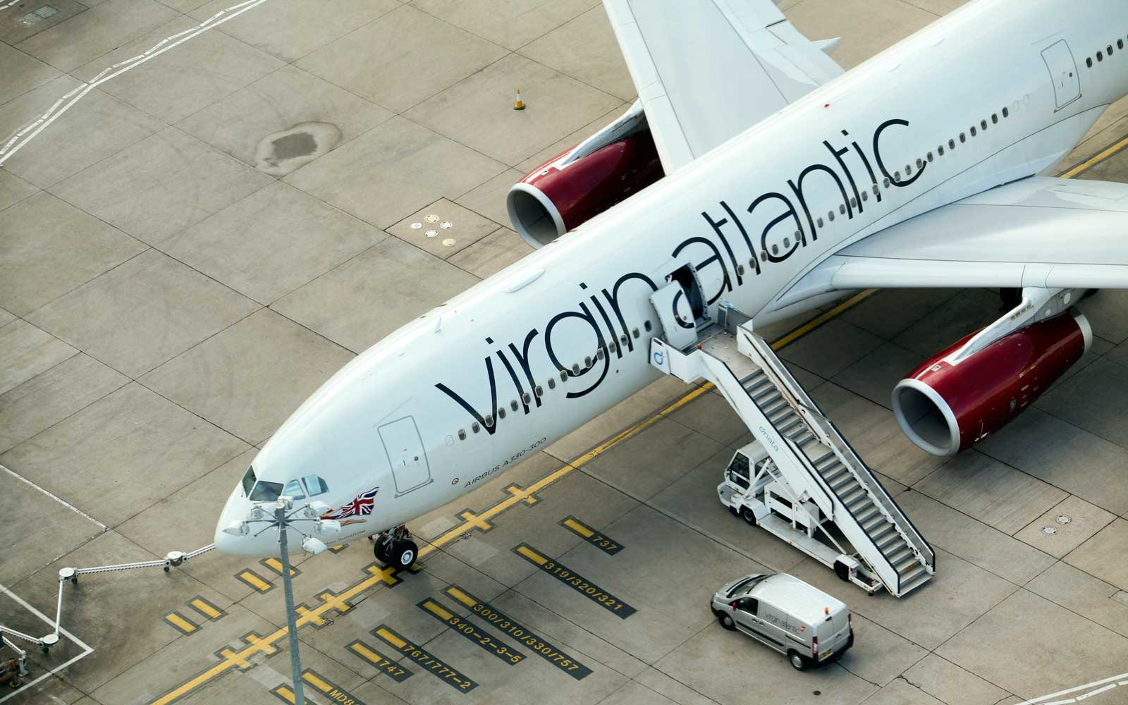 Virgin Atlantic Plane in Heathrow, London, UK
