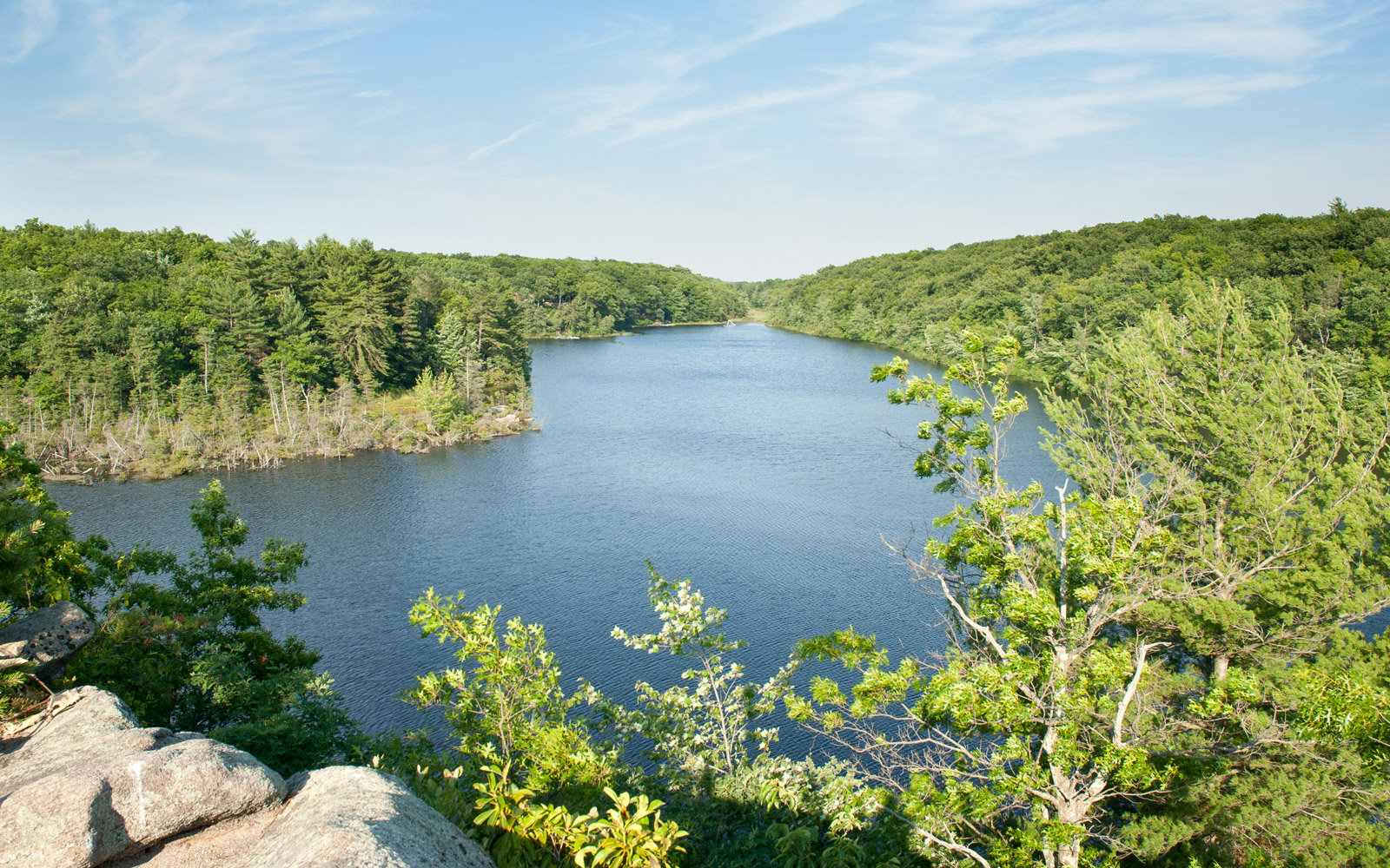 View from the bluff at Long Pond in Hopkinton, Rhode Island