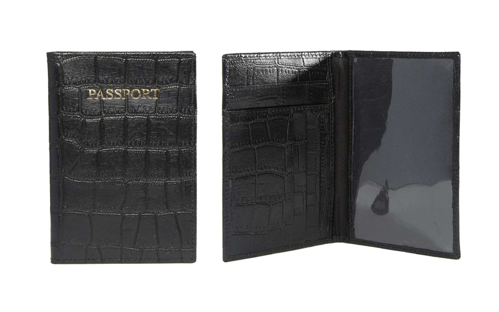 Black Croc Passport Cover