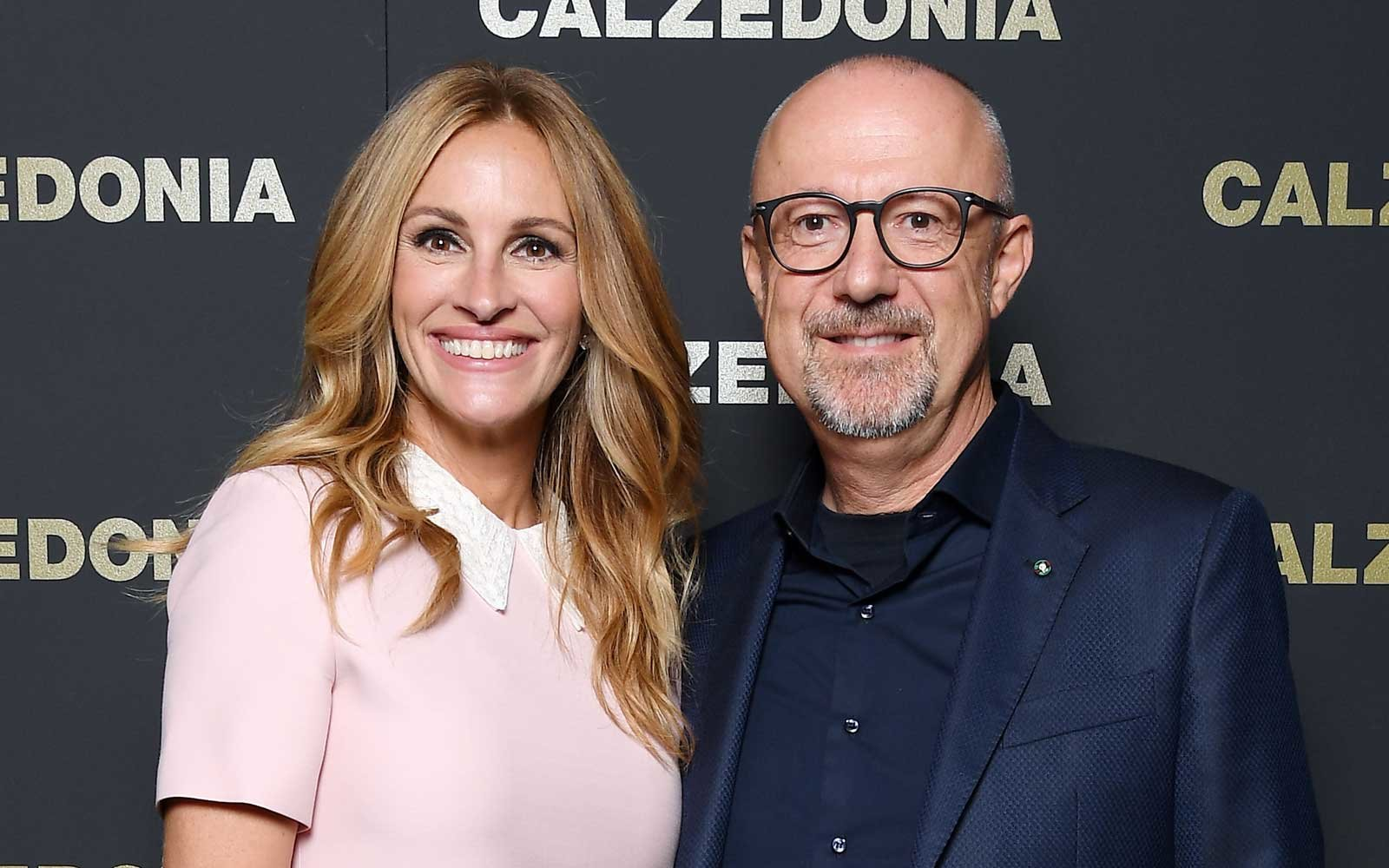 Actress Julia Roberts and Sandro Veronesi attends Calzedonia Legs Show on September 5, 2017 in Verona, Italy.