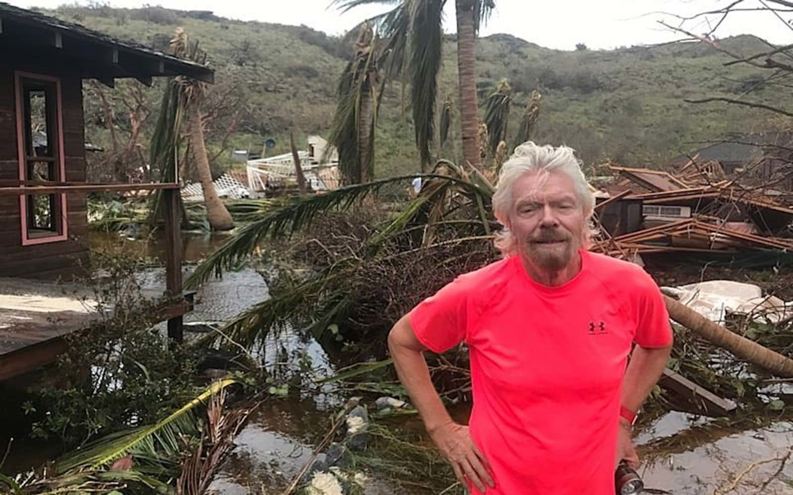 Richard Branson Hurricane Irma Necker Island Charity Rebuild Destruction