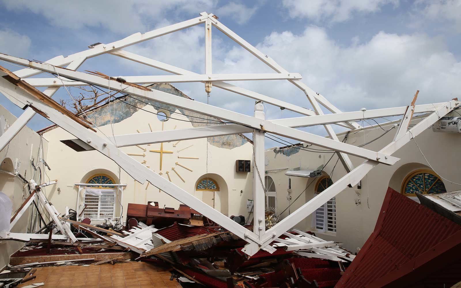 View of the destroyed Methodist church in Marigot, Saint Maarten days after this Caribbean island sustained extensive damage after the passing of Hurricane Irma on September 12, 2017