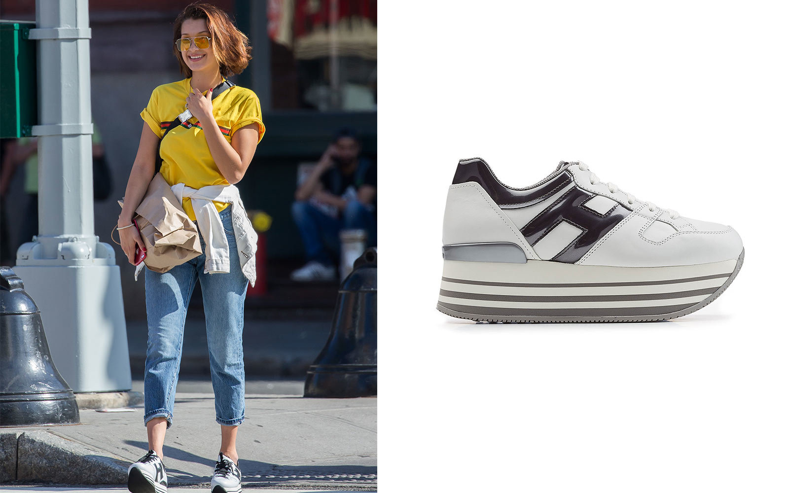 huge selection of 11315 e5f9a Bella Hadid in Hogan Leather sneaker