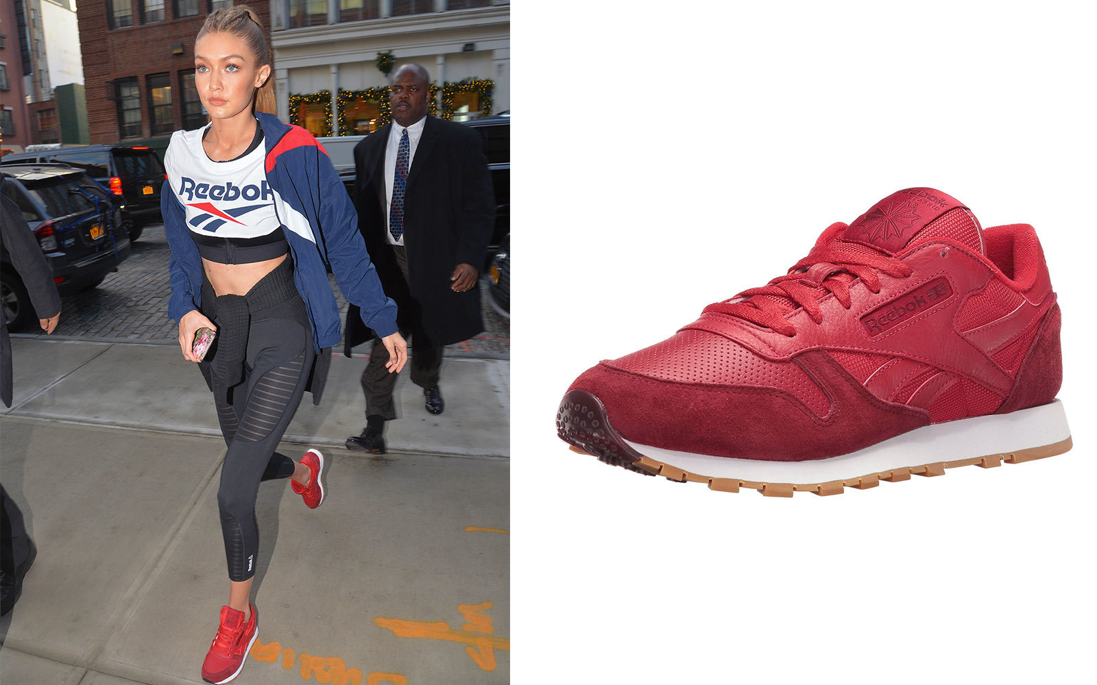 Gigi Hadid in Reebok sneakers