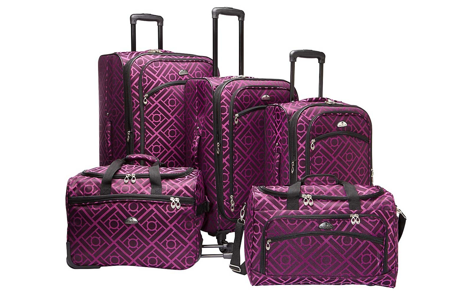 American Flyer magenta printed 5-piece luggage set