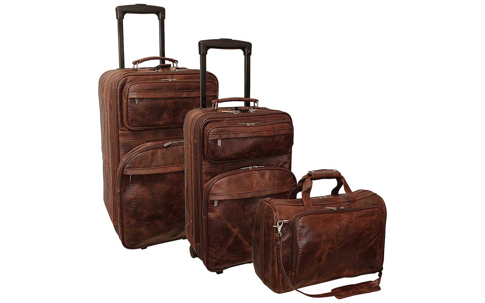 Amerileather Brown Leather 3-piece luggage set