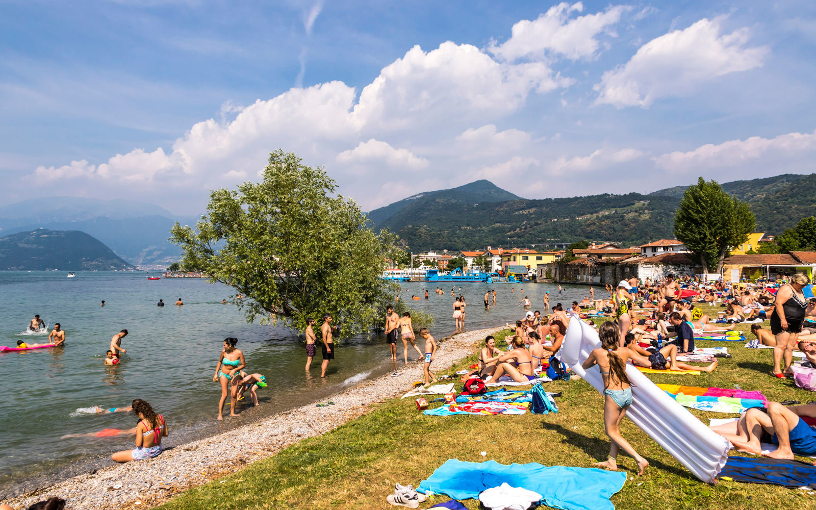 A crowded beach on Lake Iseo