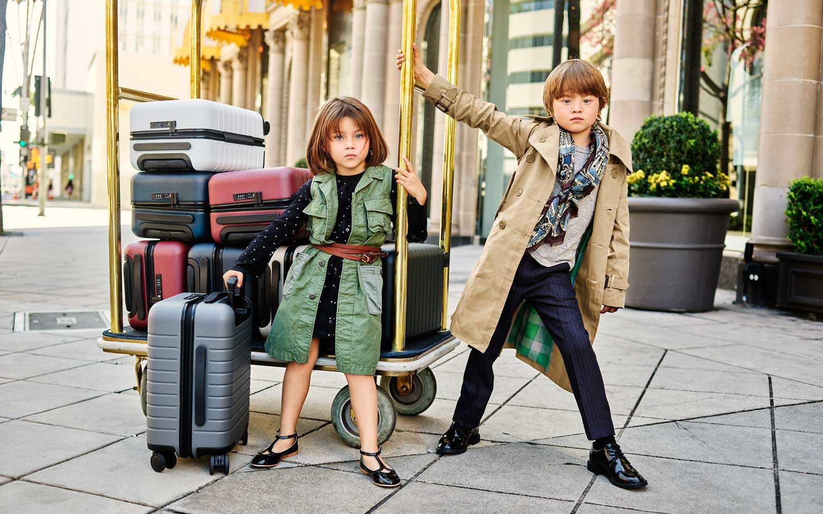 Kids with a Luggage Cart