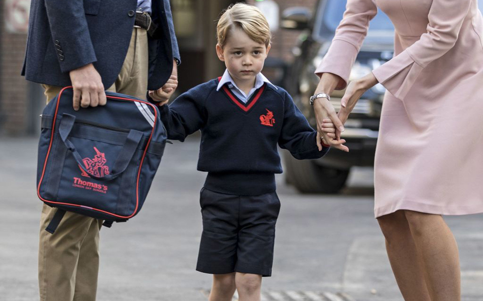 Prince George on his first day of school at Thomas's Battersea