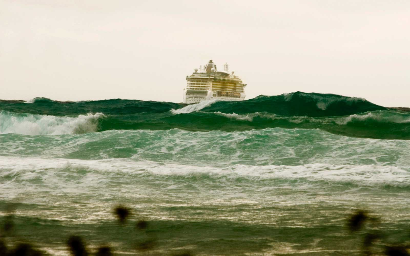 Cruise Ship in Stormy Caribbean Waters