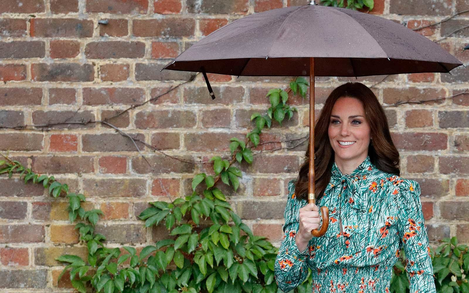 Kate Middleton Holding an Umbrella