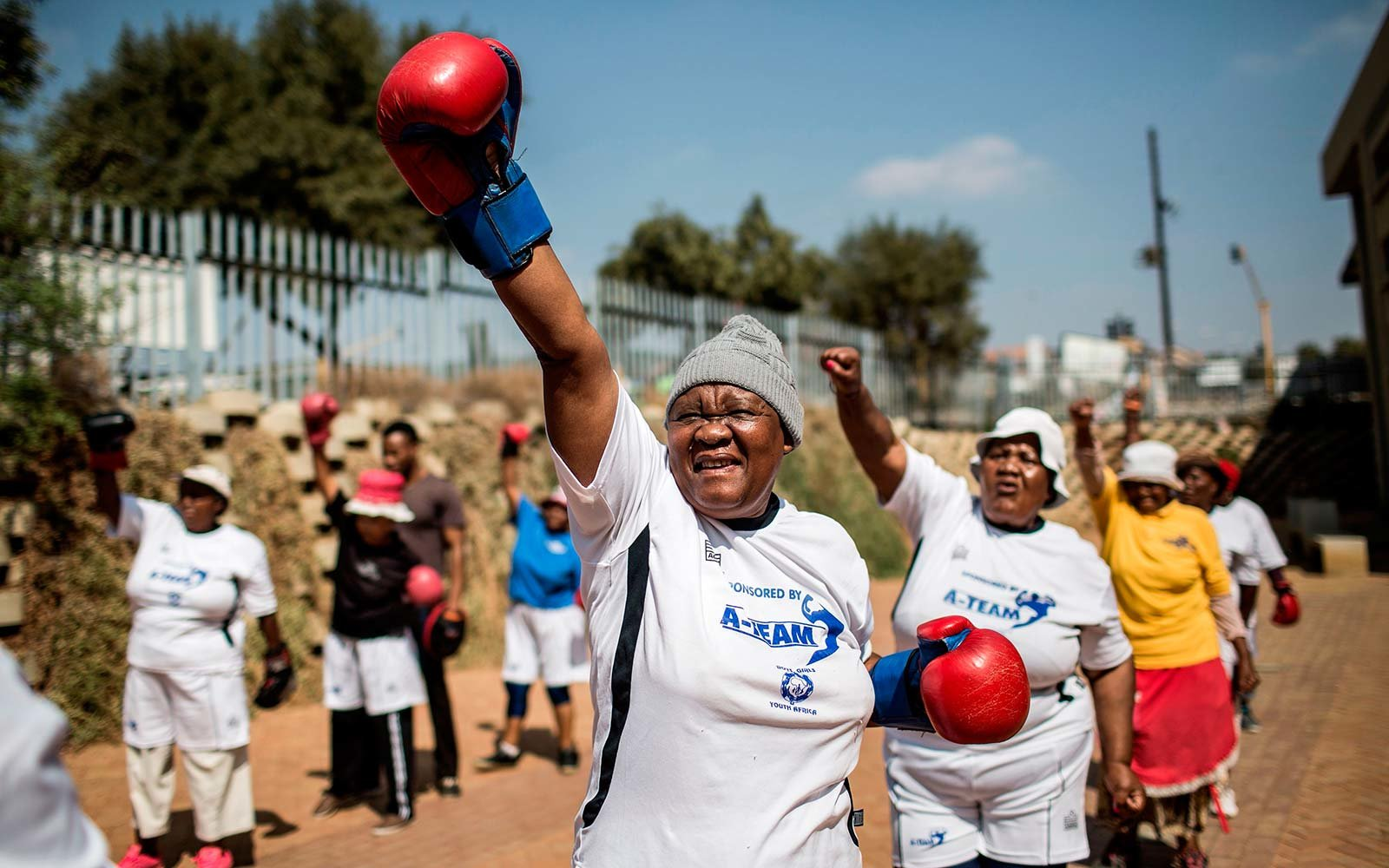 Boxing Gogos Grandmas Johannesburg South Africa exercise Cosmo City coach Claude Maphosa