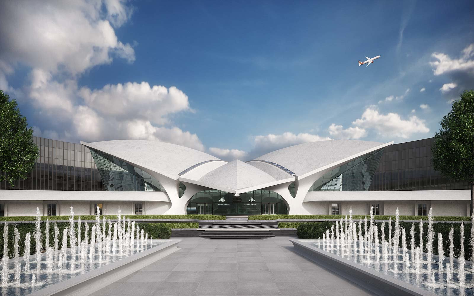 Get a first look at the designs for the new twa hotel at for Hotel at jfk terminal