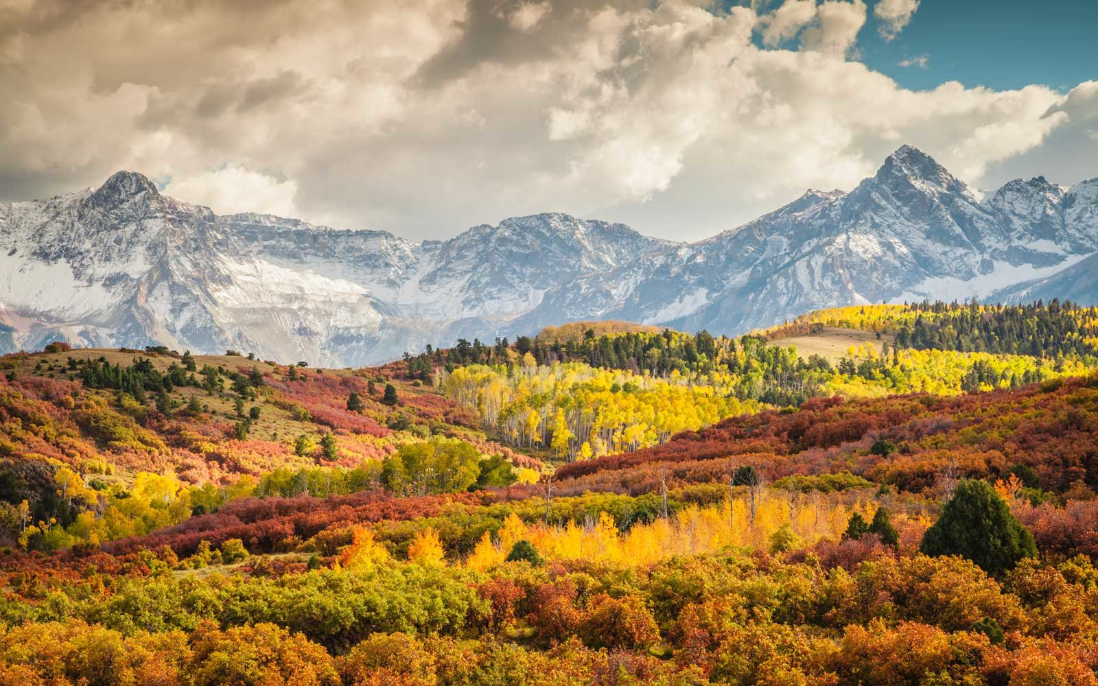 Fall colors at sunset in the Colorado Rocky Mountains