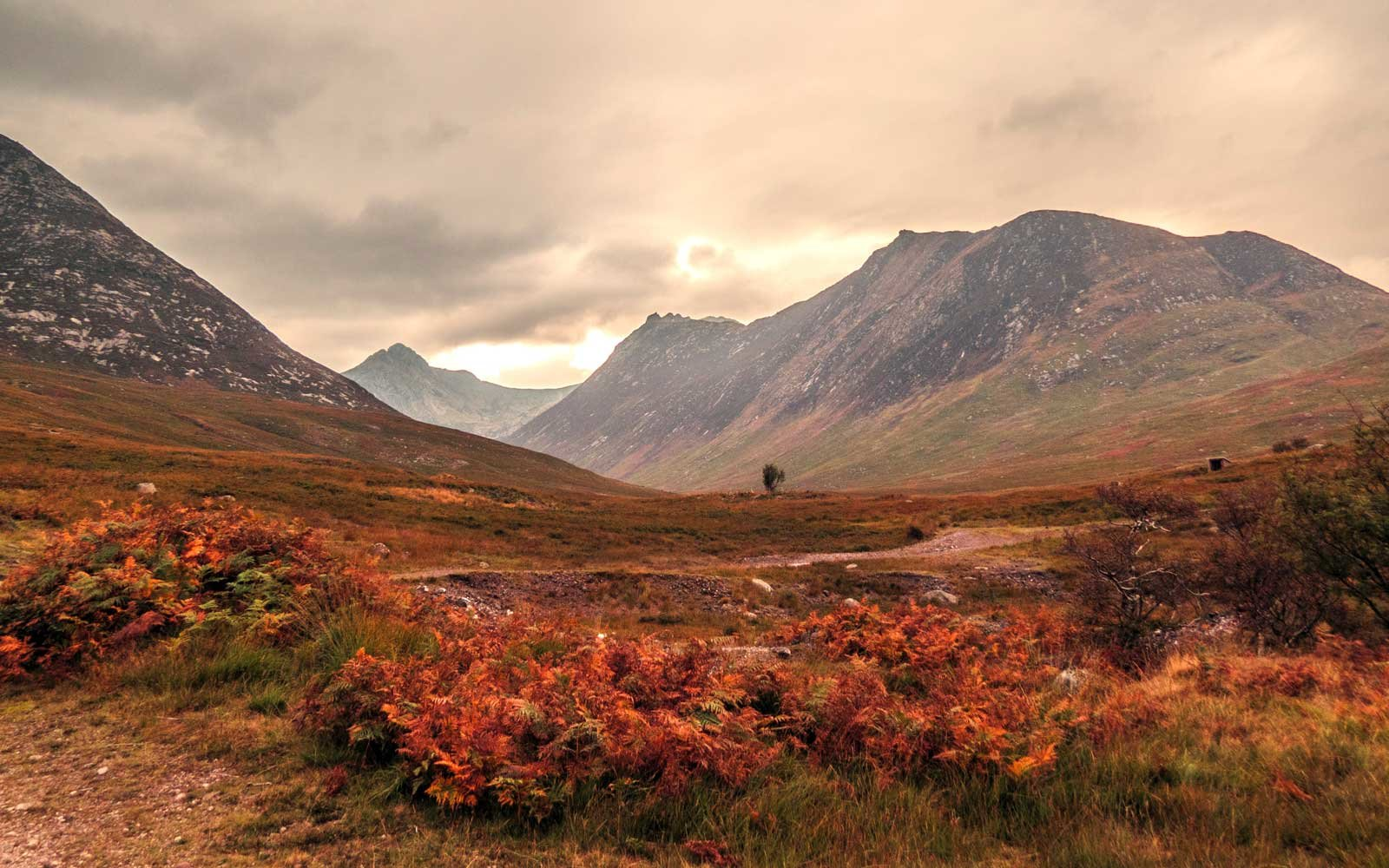 Path through the dramatic glacial valley of Glen Sannox, following the Sannox Burn, Scotland