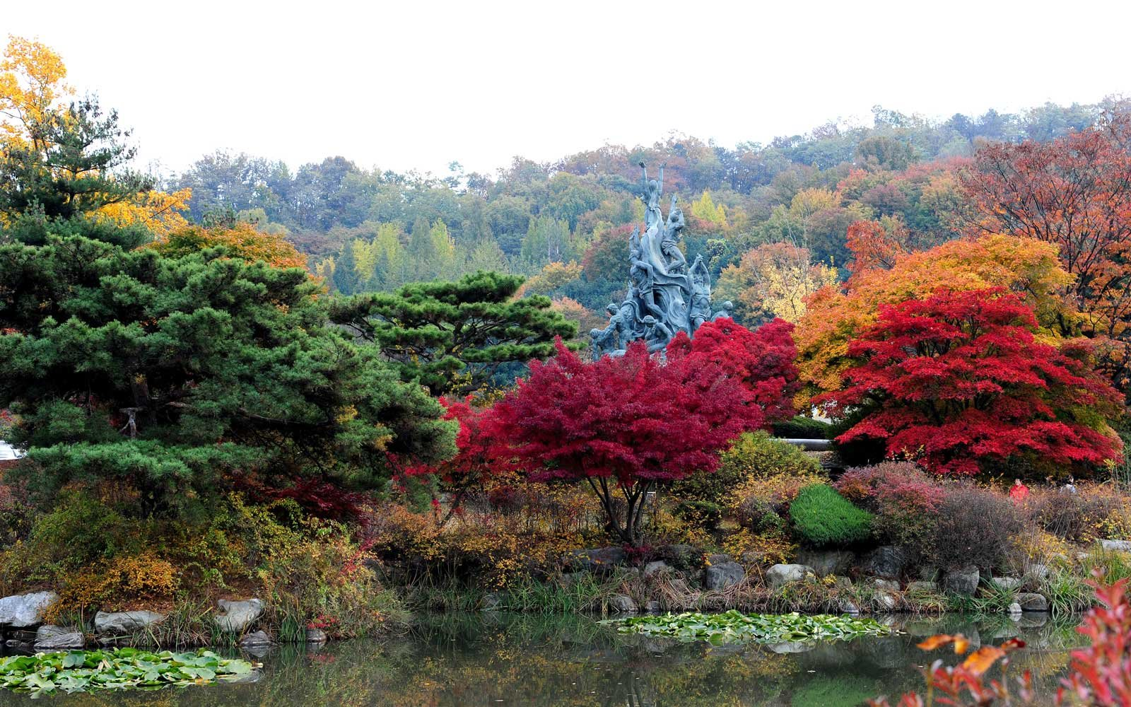 Autumn landscape of Seoul National Cemetery in Dongjak-dong, Seoul, South Korea