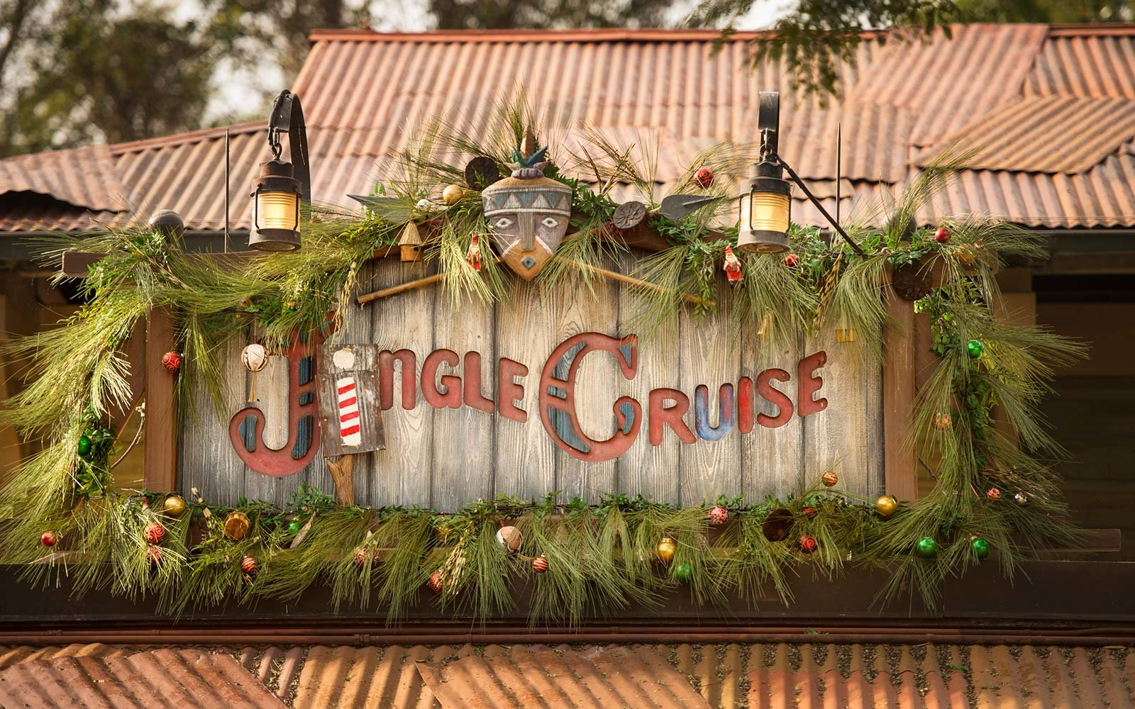 Jingle Jungle Cruise attraction Disney Disneyland Anaheim California Orlando Florida Holiday ride