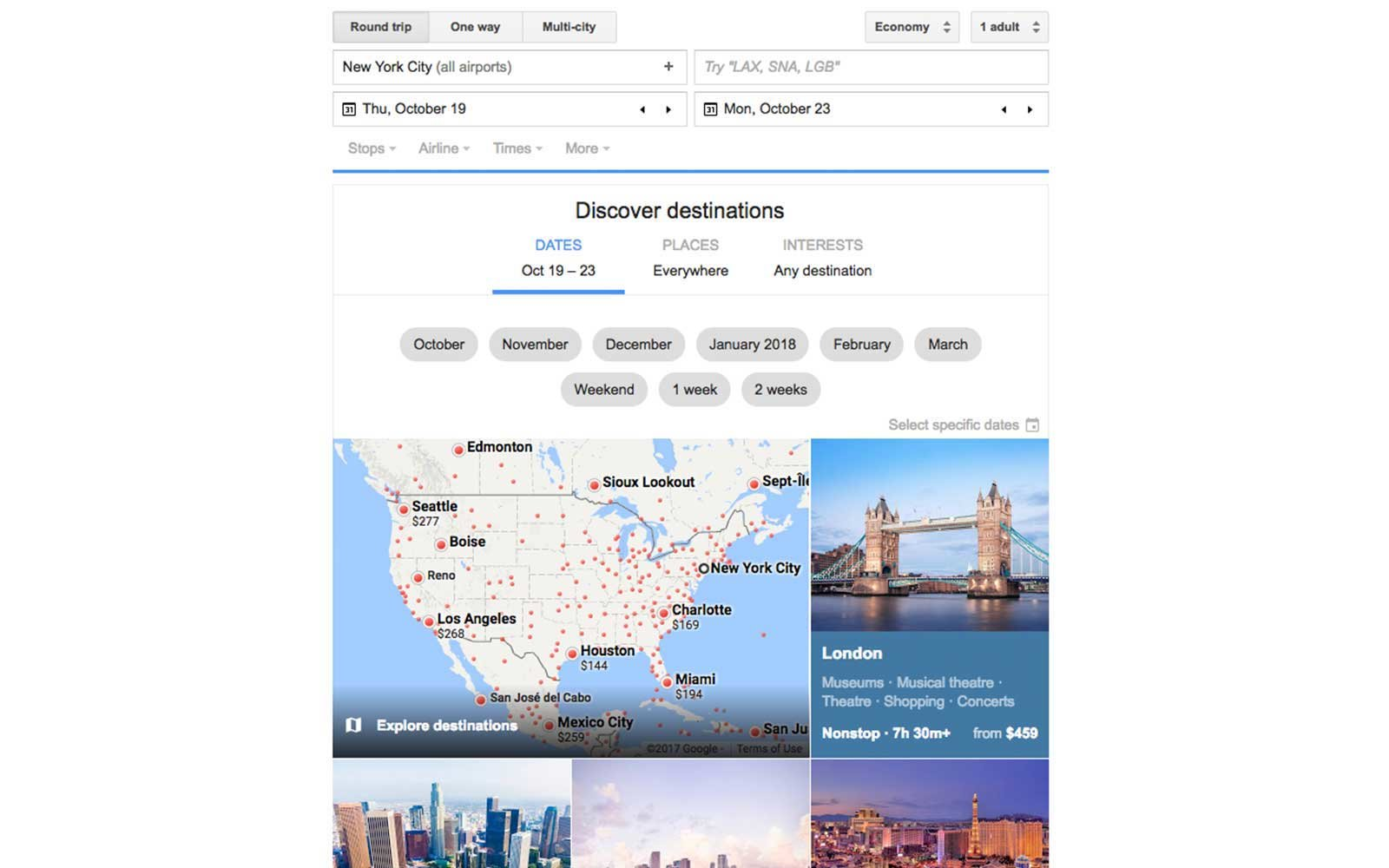 Google Flights Discover Destinations