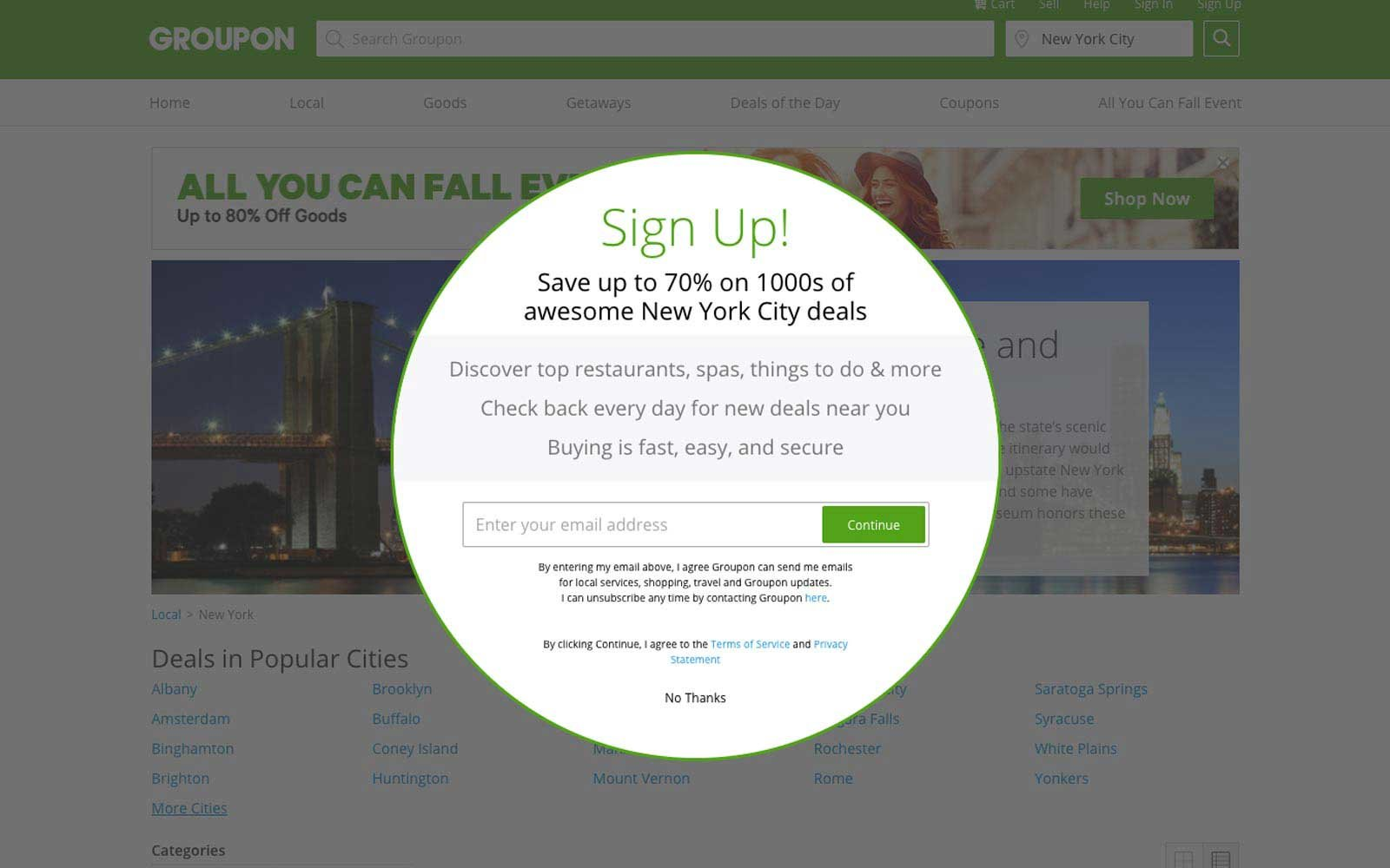Sign Up for Groupon City Deals