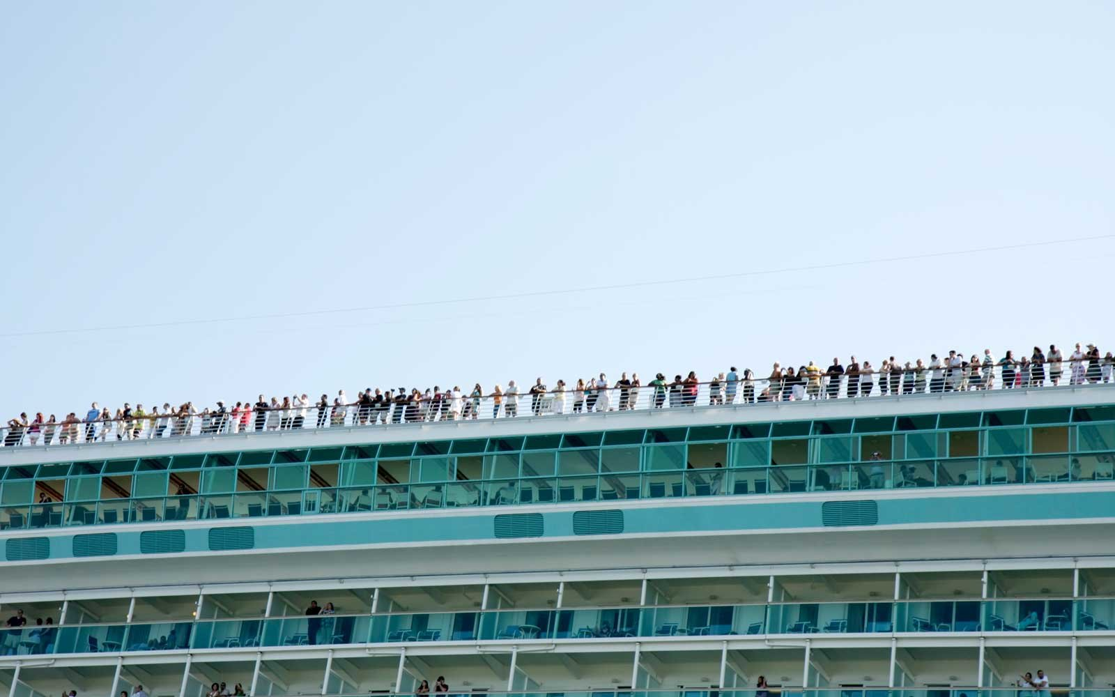 Passengers on a Cruise Ship Upper Deck