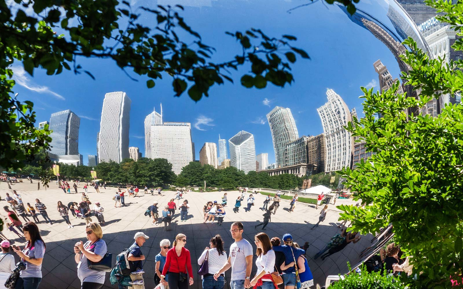 Chicago Illinois Travel Tourism Millennium Park Bean sculpture tourists visit