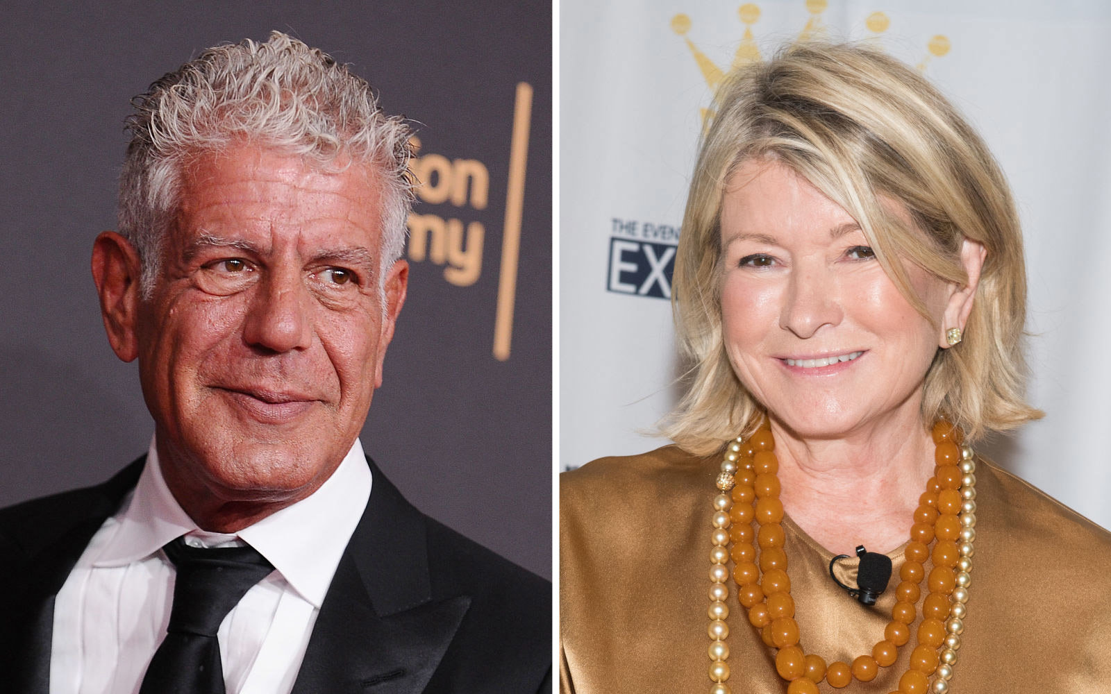 Split image of Anthony Bourdain and Martha Stewart
