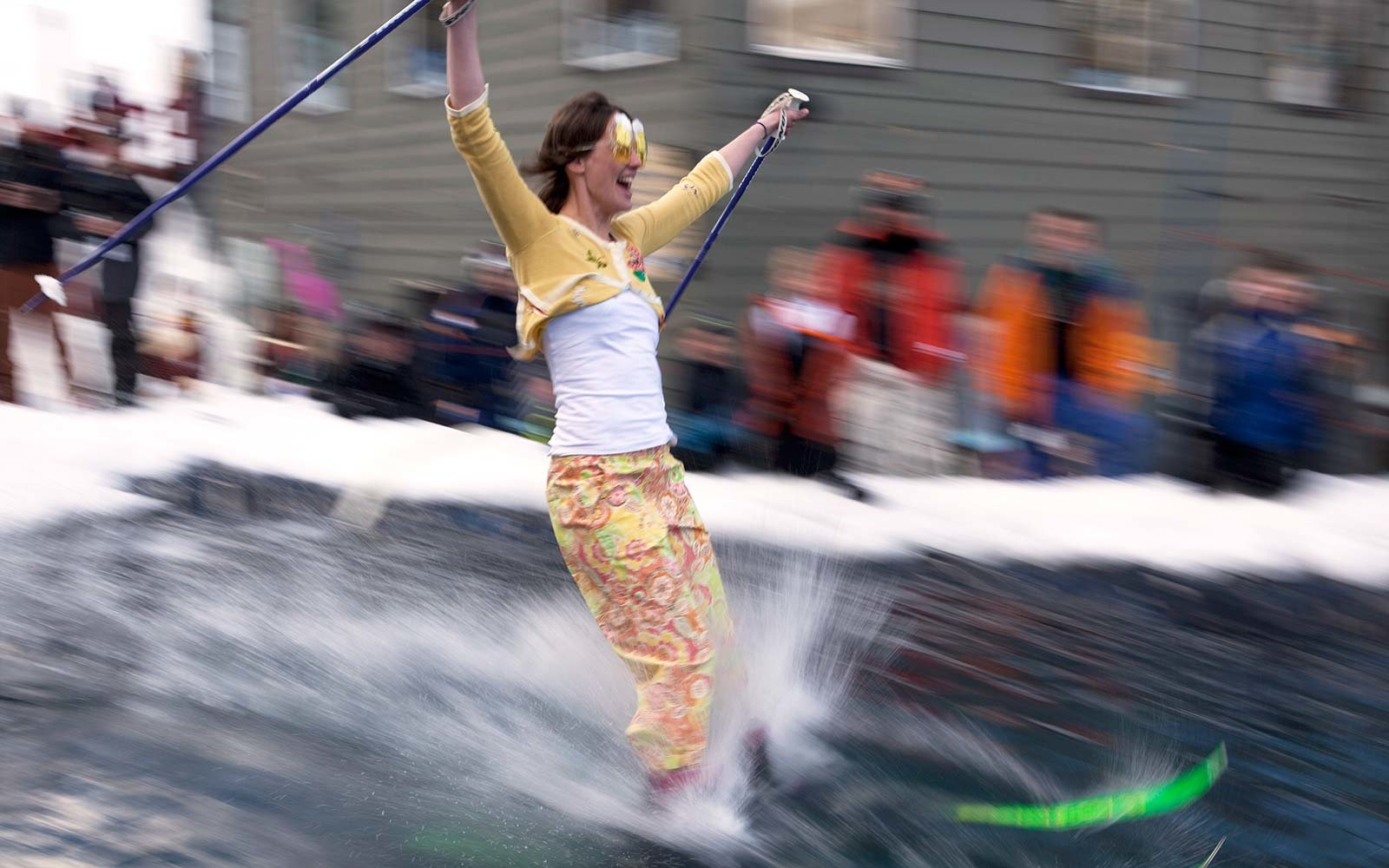 Join a pond skimming competition