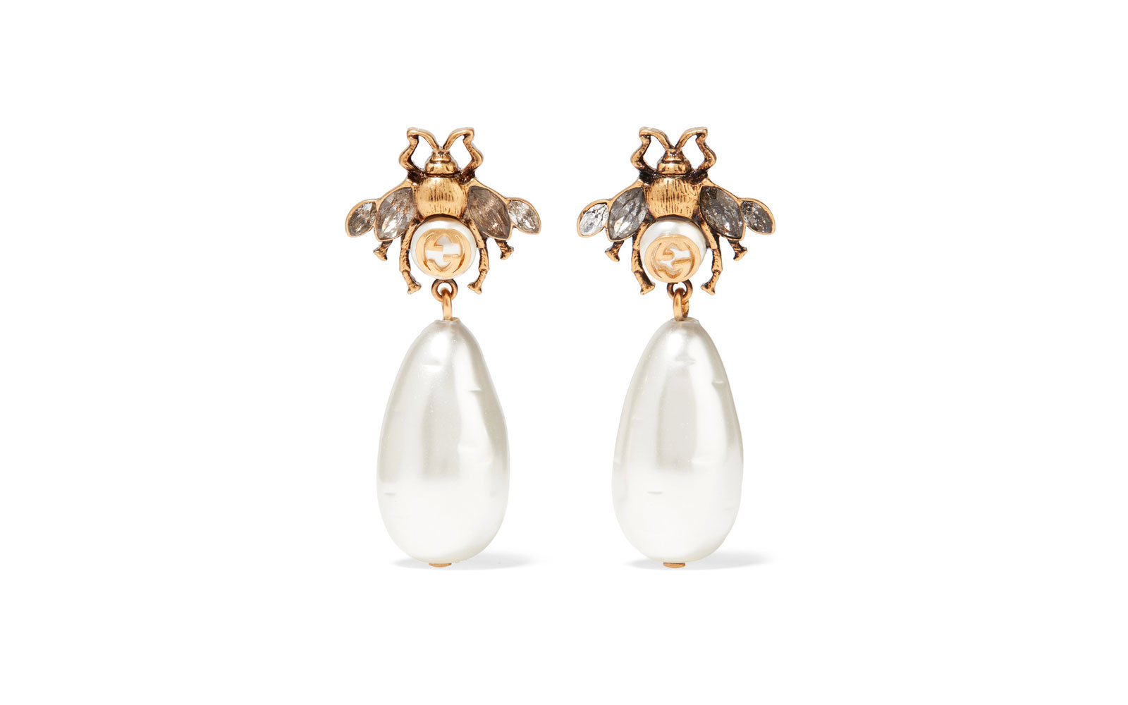 Gucci Gold-plated, Crystal, and Faux Pearl Earrings