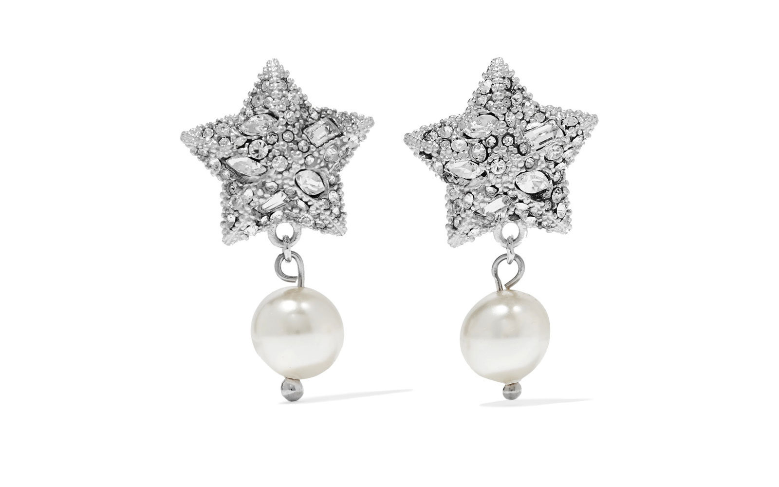 Miu Miu Silver-plated, Crystal, and Faux Pearl Earrings