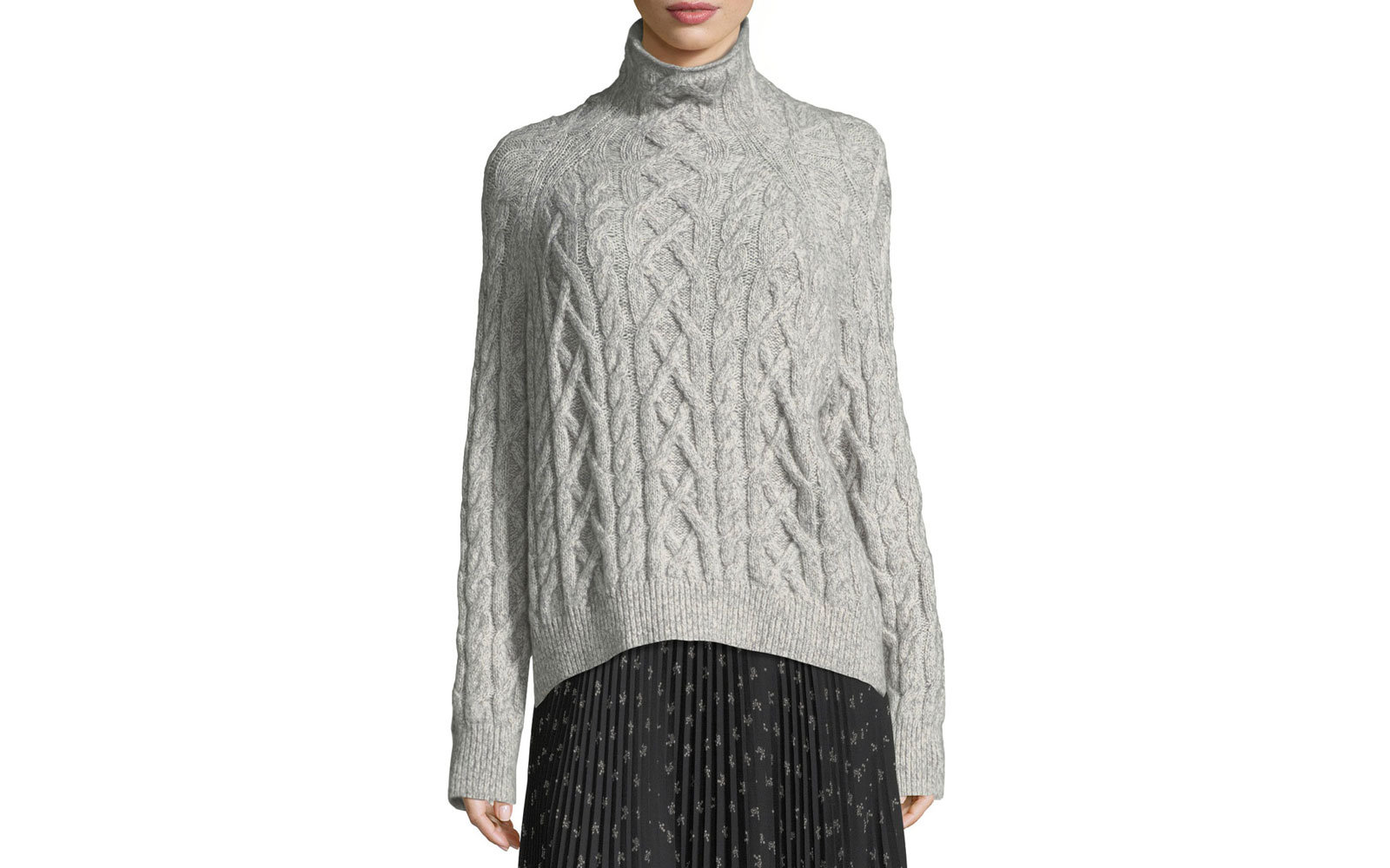 Vince's Oversized Cable-Knit Turtleneck Sweater