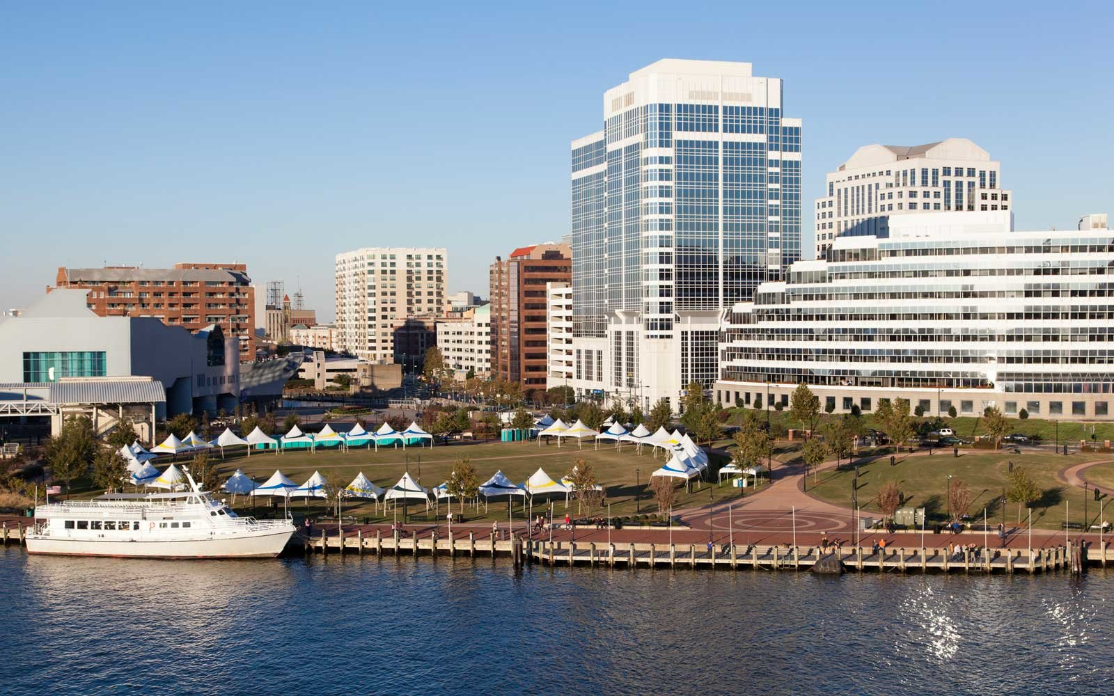 The Norfolk, Virginia harbor
