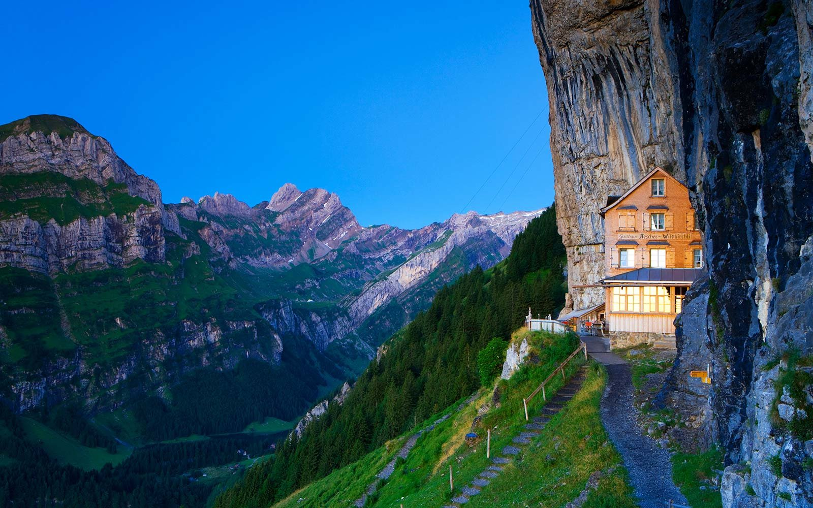 aescher guesthouse hotel restaurant swiss alps cliff adventure switzerland