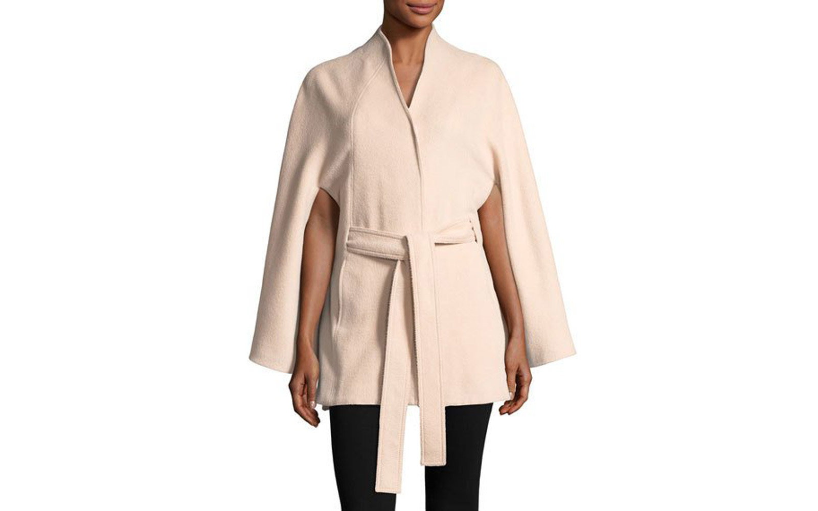 Stand Collar Button-Front Belted Cape