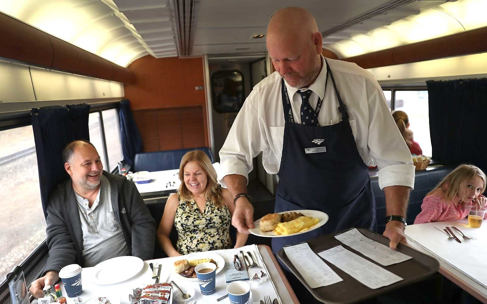 Amtrak passengers at breakfast