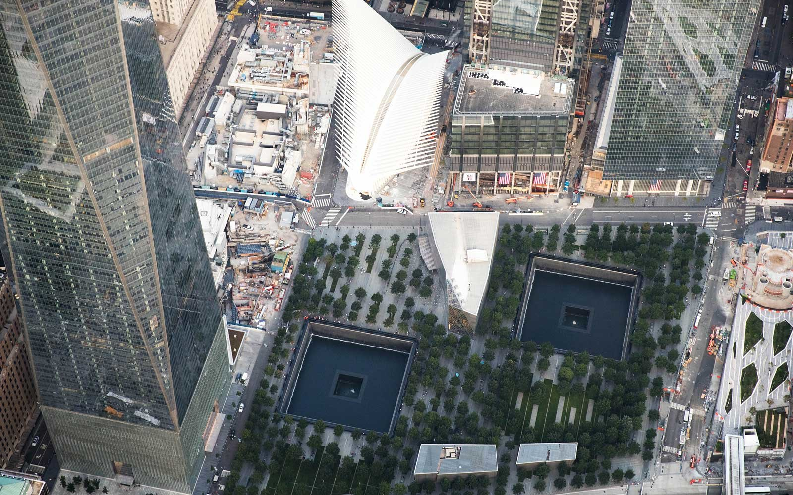 Lower Manhattan Aerial View 9/11 Memorial