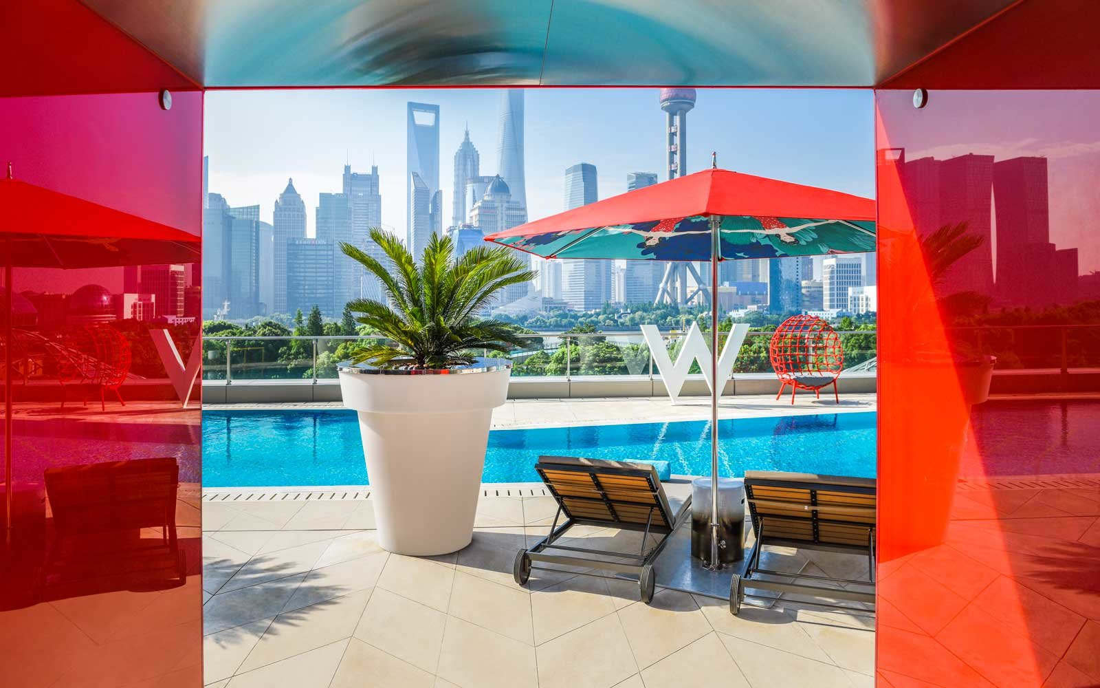 Pool view at the new W Hotel, in Shanghai, China