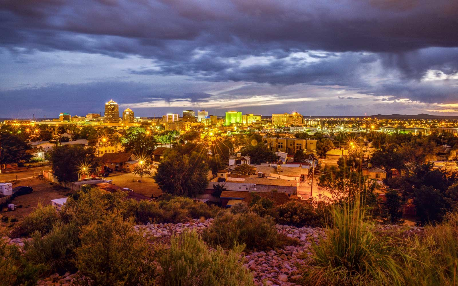 Skyline of downtown Albuquerque, New Mexico, at night