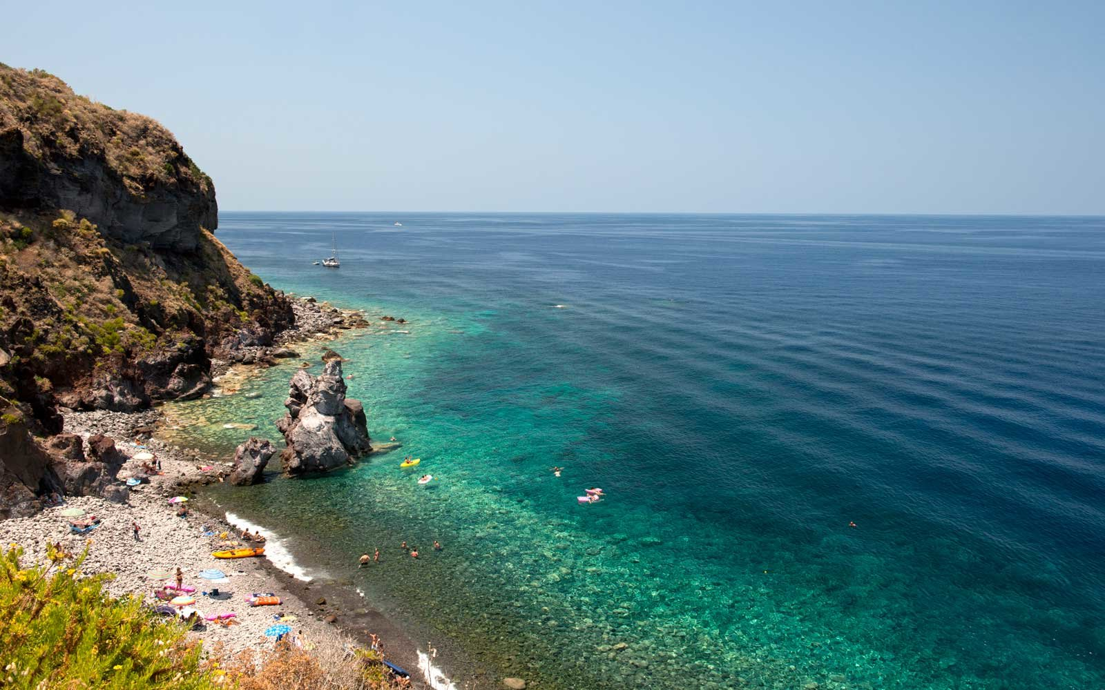 A rocky beach near Malfa on the island of Salina, The Aeolian Islands, Italy