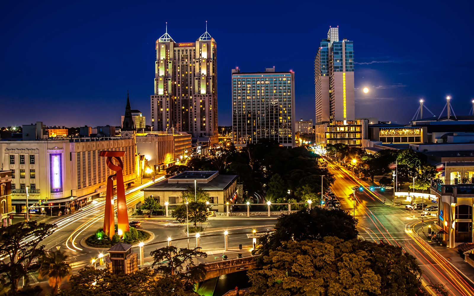 Downtown San Antonio, Texas at night