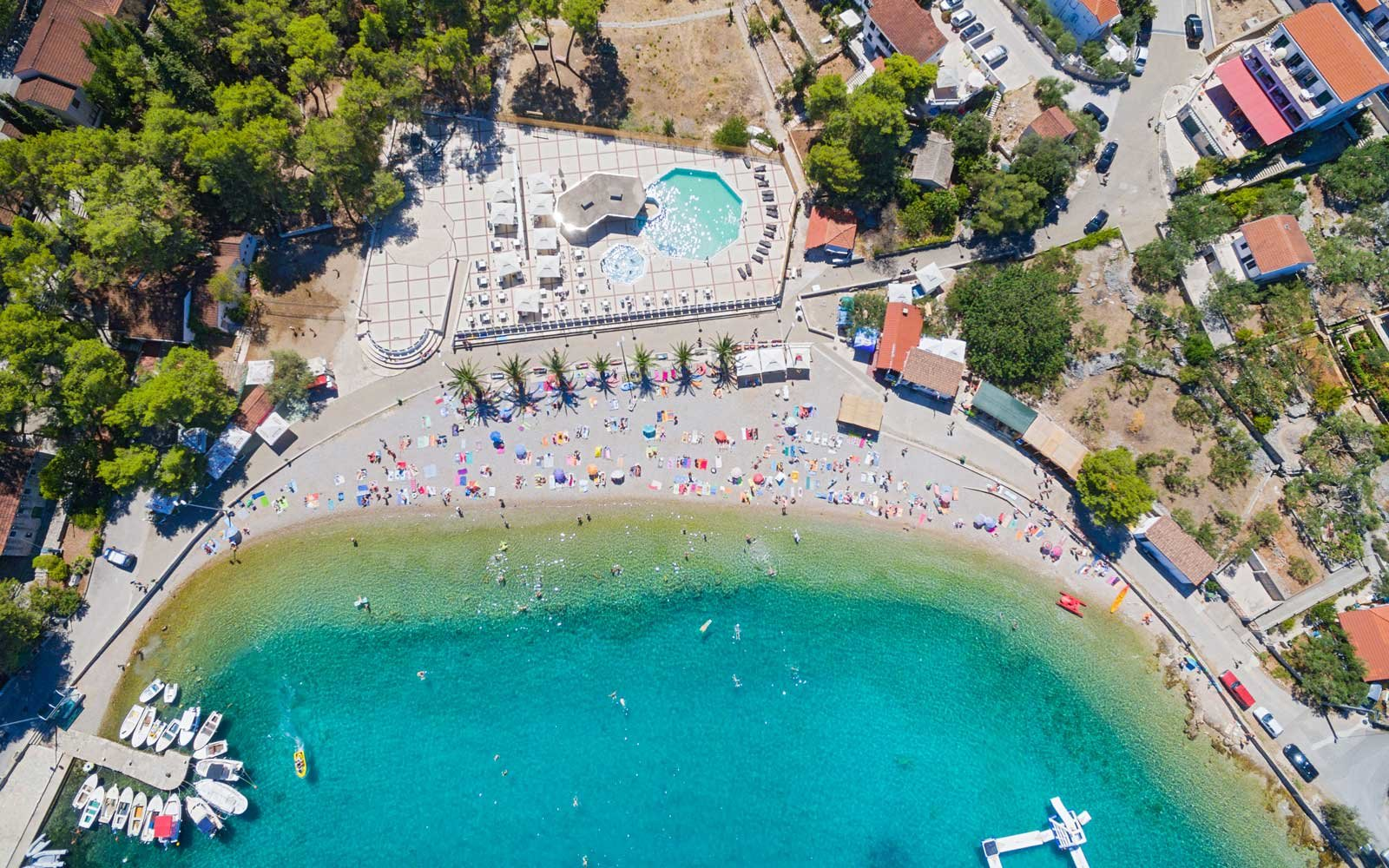 Aerial View Of Housing Estate And Beach At Necujam Bay Solta Croatia