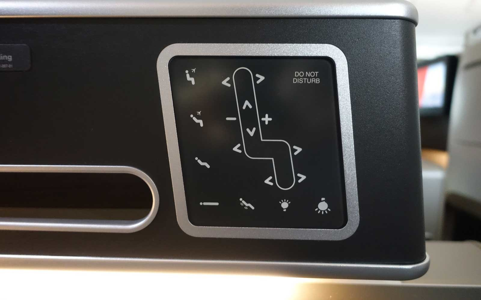 Qantas Business Seat Controls