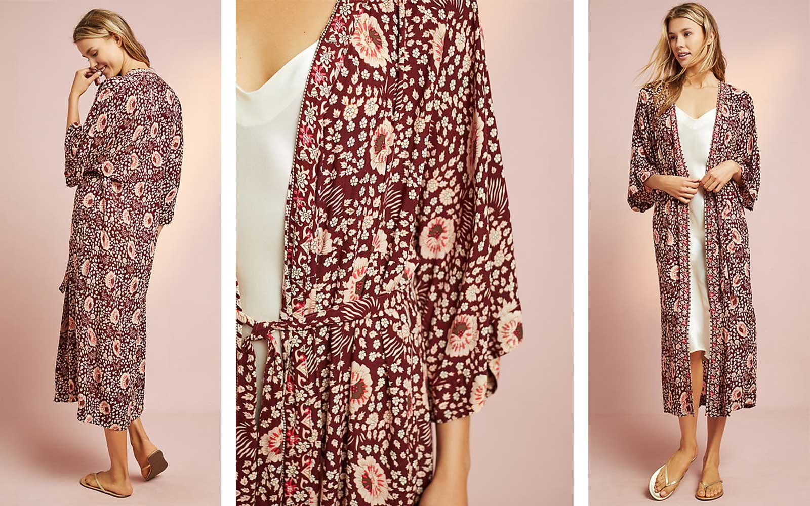 Long printed robe from Anthropologie