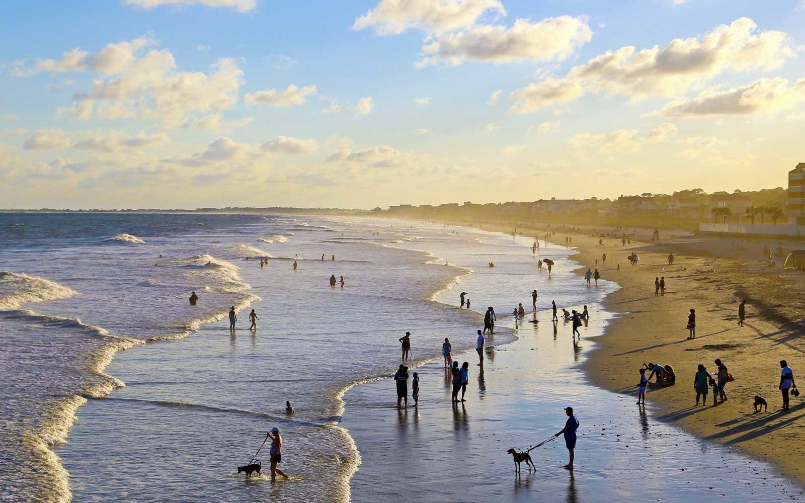 Crowd enjoying the last days of summer, Folly Beach, South Carolina